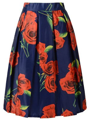 A Line Red Rose Print Skirt - Purplish Blue