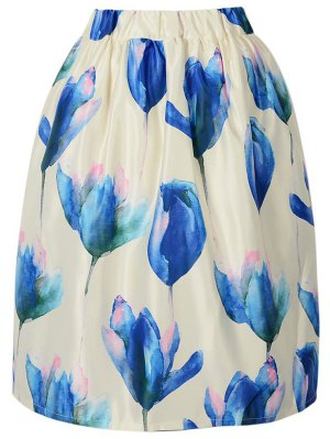 A Line Floral Print High Waisted Skirt - Off-white