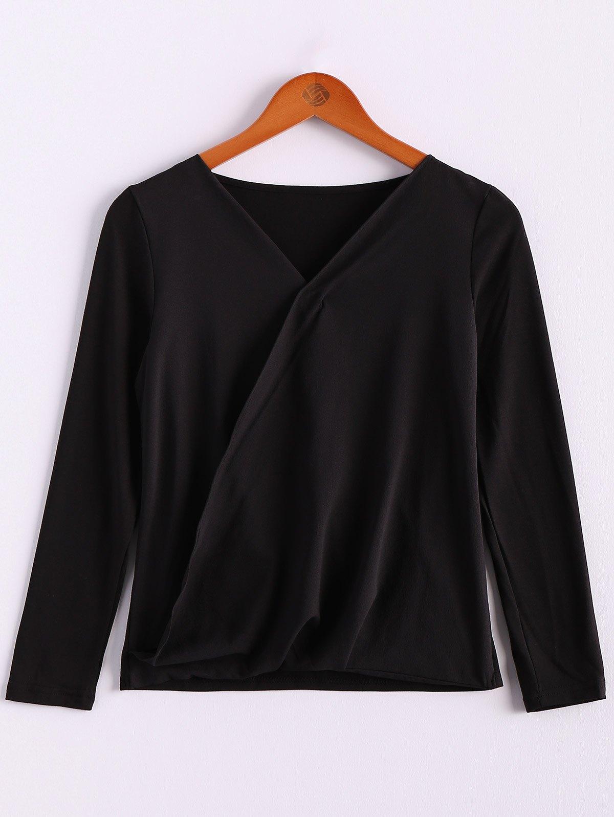 V-Neck Long Sleeve Splicing Blouse - BLACK S
