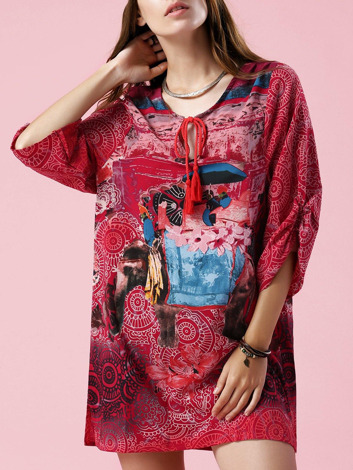 Elephant Print V Neck 3/4 Sleeve Dress