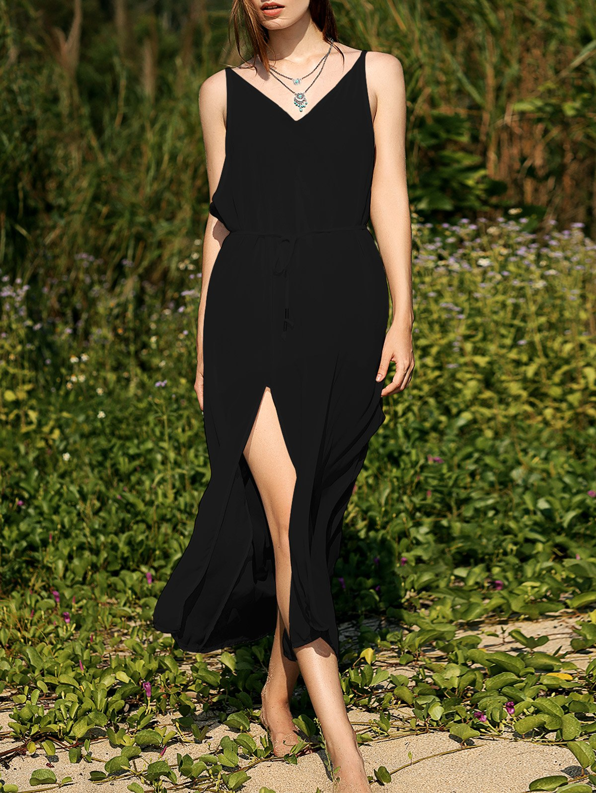 Deep V Neck Low Back Furcal Chiffon Dress