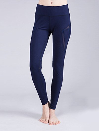 Solid Color Stretchy Voile Patchwork Yoga Pants For Women