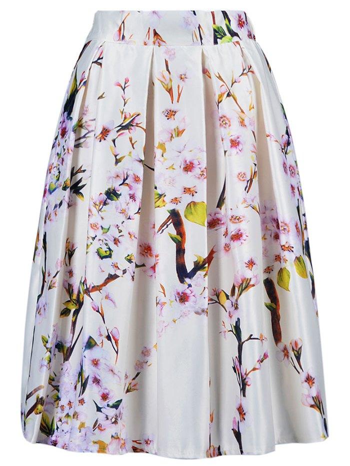 Tiny Flower Print A Line Skirt