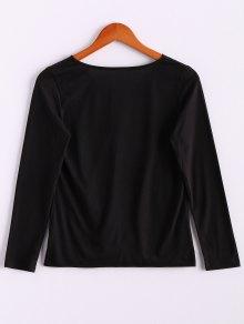 V-Neck Long Sleeve Splicing Blouse