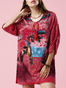 Elephant Print V Neck 3/4 Sleeve Dress