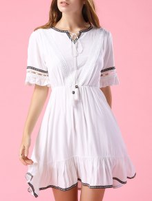 Embroidery V Neck Short Sleeve A Line Dress