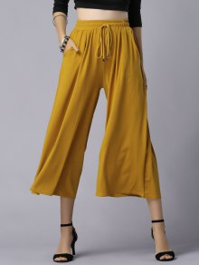 Wide Leg Elastic Waist Drawstring Pants - Ginger