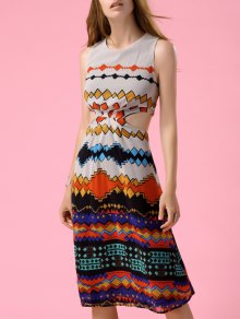 Geometric Print Cutout Waist Dress