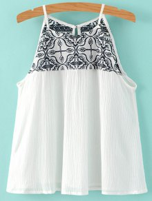 Cami Embroidery Pleated Tank Top