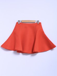 Solid Color Flouncing A-Line Skirt