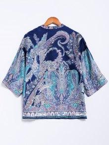 V-Neck Retro Print Blouse - BLUE S