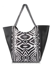 Tribal Print Chains PU Leather Shoulder Bag