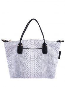 Snake Print PU Leather Tote Bag