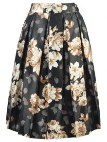 High Waisted A Line Floral Print Skirt - Black