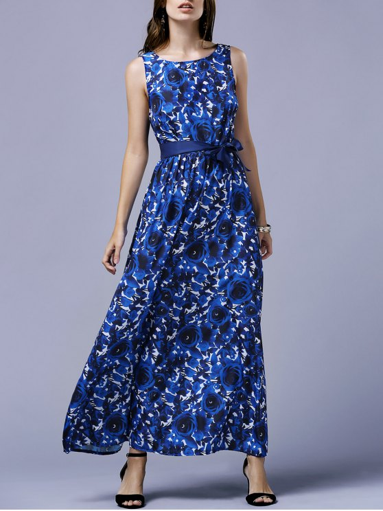 women's Blue Rose V-Back Maxi Dress - BLUE L