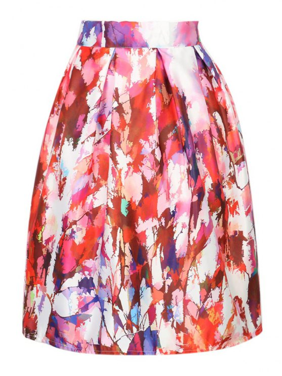 lady A Line Printed High Waisted Skirt - COLORMIX ONE SIZE(FIT SIZE XS TO M)