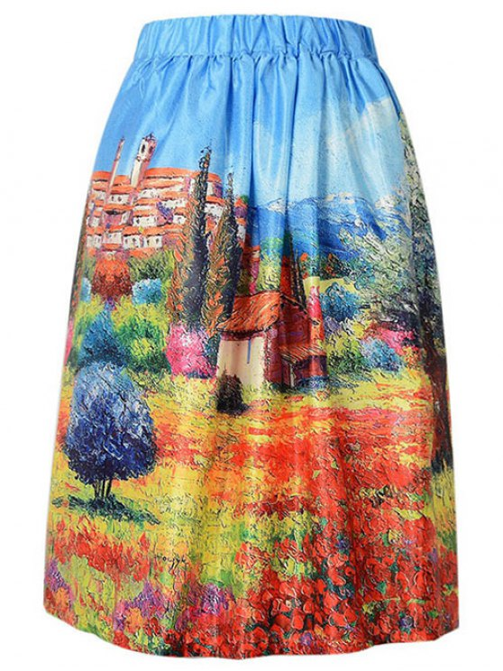A Line Scenery Print Skirt - AZURE ONE SIZE(FIT SIZE XS TO M) Mobile