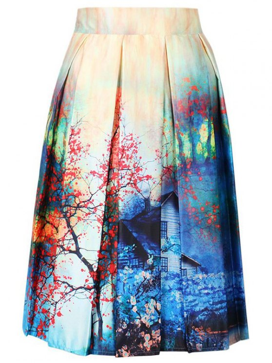 A-Line Printed Skirt - COLORMIX ONE SIZE(FIT SIZE XS TO M) Mobile