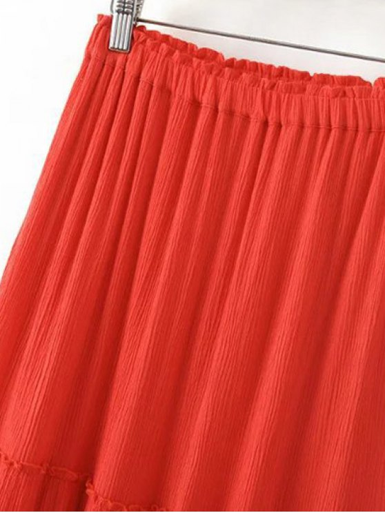 Solid Color Elastic Waist High Waist A-Line Skirt - LIGHT BLUE L Mobile