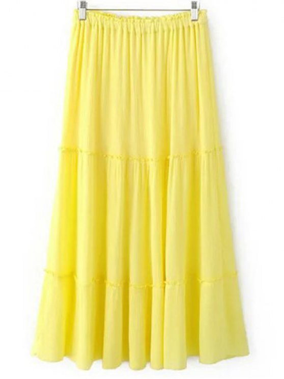 Solid Color Elastic Waist High Waist A-Line Skirt - YELLOW M Mobile
