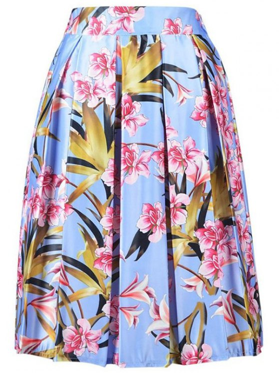 shops High Waisted Floral Print A Line Skirt - LIGHT BLUE ONE SIZE(FIT SIZE XS TO M)