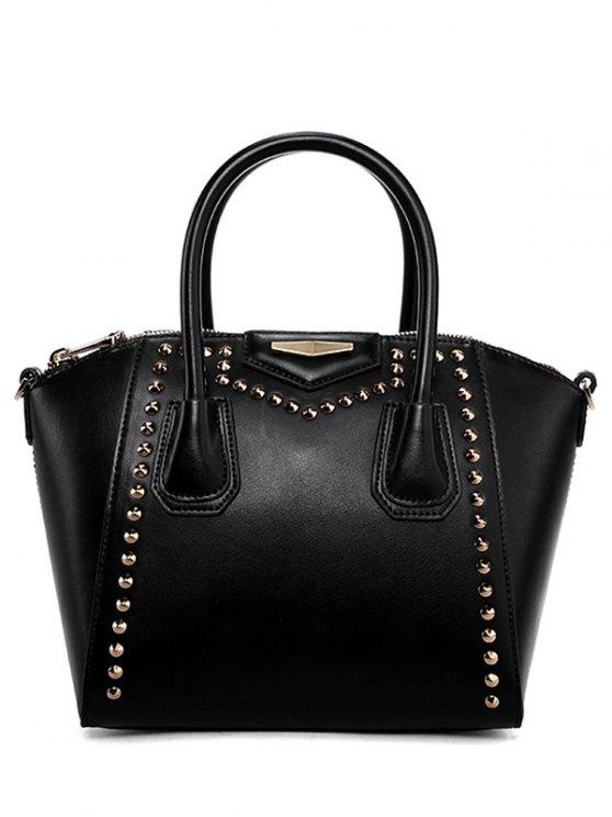 hot PU Leather Solid Color Rivet Tote Bag - BLACK