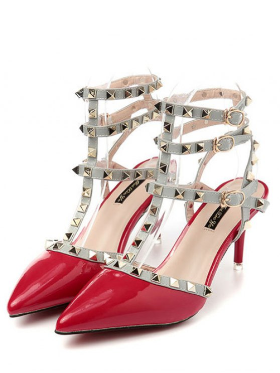 Rivet Pointed Toe Stiletto Heel Sandals - RED 39 Mobile