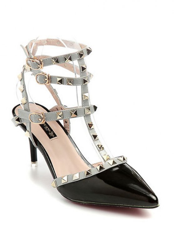 Rivet Pointed Toe Stiletto Heel Sandals - BLACK 36 Mobile