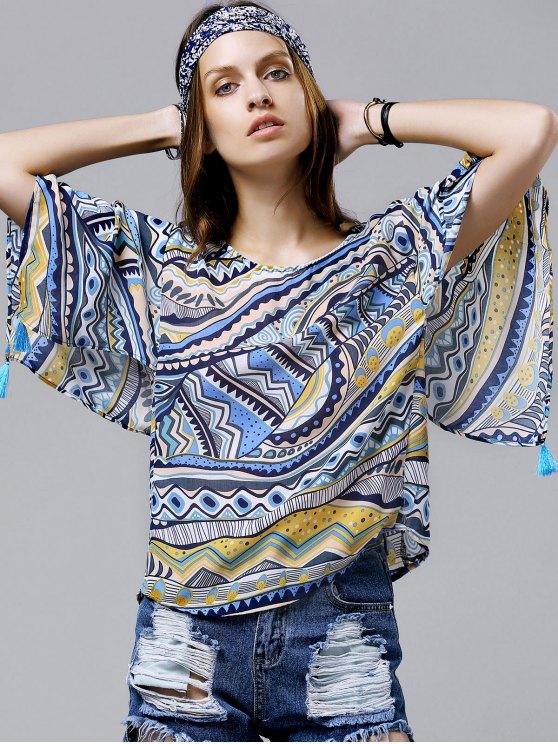 shops Wide Sleeve Printed Chiffon Top - BLUE M
