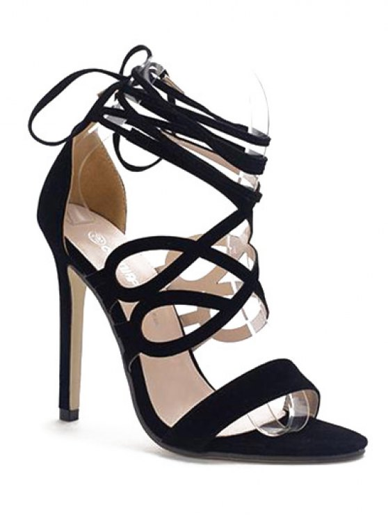 outfit Lace-Up Flock Stiletto Heel Sandals - BLACK 38
