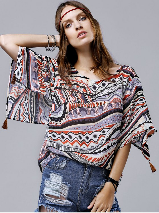 outfits Wide Sleeve Printed Chiffon Top - ORANGE M