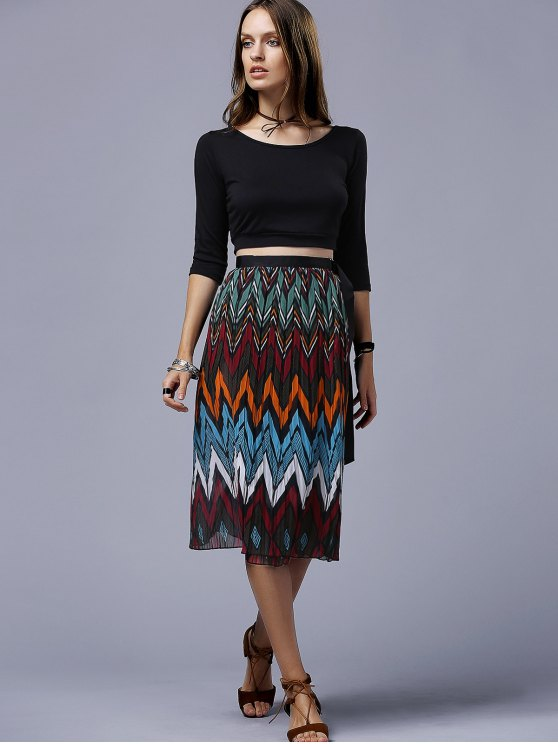 Chevron Stripe Chiffon Skirt - COLORMIX ONE SIZE(FIT SIZE XS TO M) Mobile