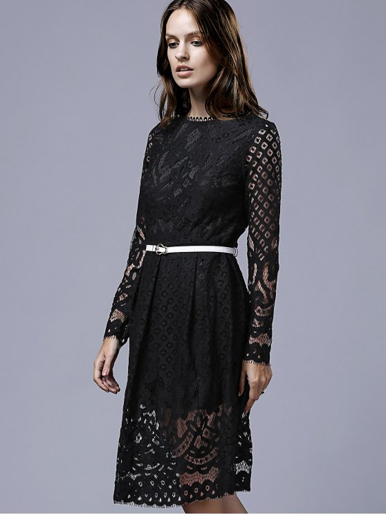 Lace Round Neck Long Sleeve A Line Dress - BLACK M Mobile