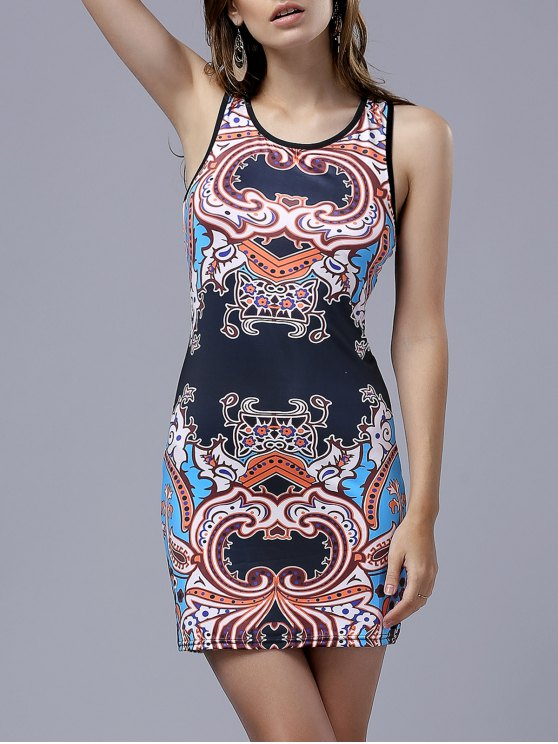 ladies Vintage Print Round Neck Sleeveless Bodycon Dress - COLORMIX L
