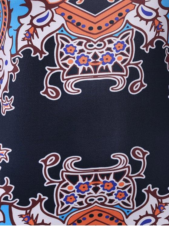 Vintage Print Round Neck Sleeveless Bodycon Dress - COLORMIX L Mobile