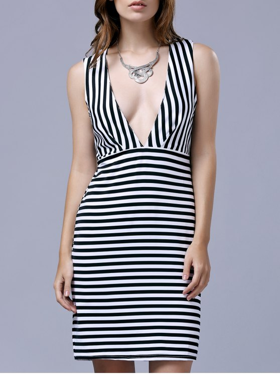 Striped Sleeveless Plunging Neckline Bodycon Dress - BLACK M Mobile