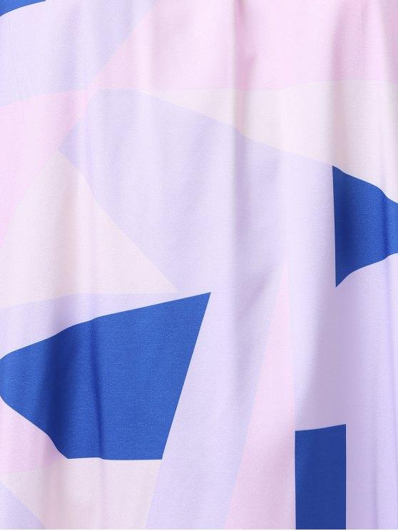 Print Open Back Halter Sleeveless Dress - WHITE L Mobile