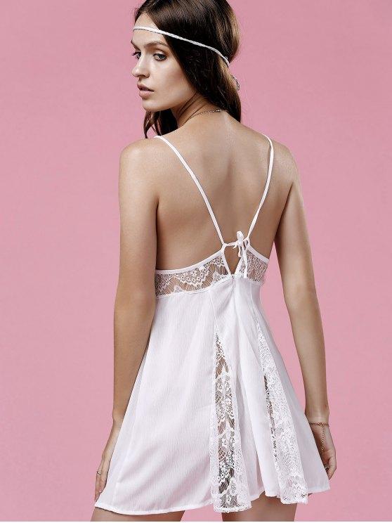 Lace Splice Cami White Mini Dress - WHITE L Mobile