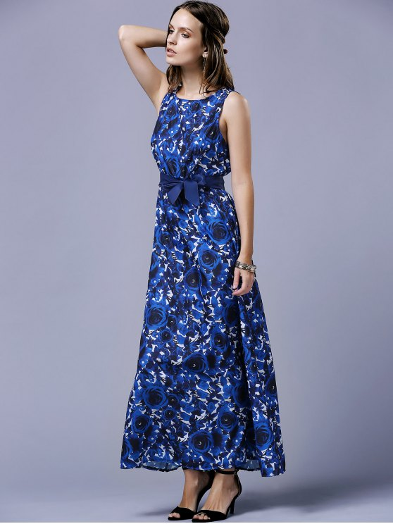Blue Rose V-Back Maxi Dress - BLUE L Mobile