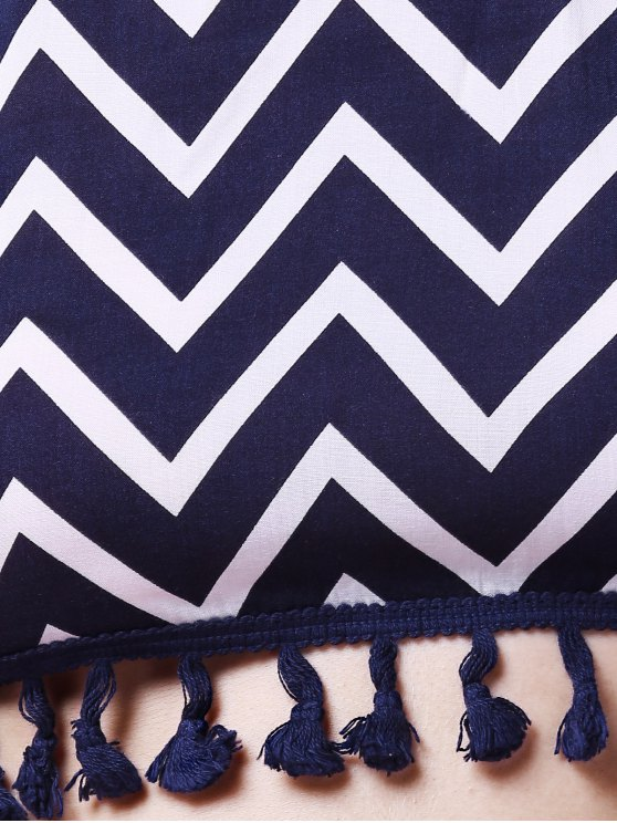 Zig Zag Halter Crop Top and Shorts Suit - PURPLISH BLUE M Mobile