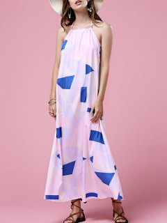 Print Open Back Halter Sleeveless Dress - White Xl