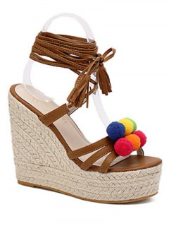 Pompon Lace-Up Wedge Heel Sandals - Brown 36