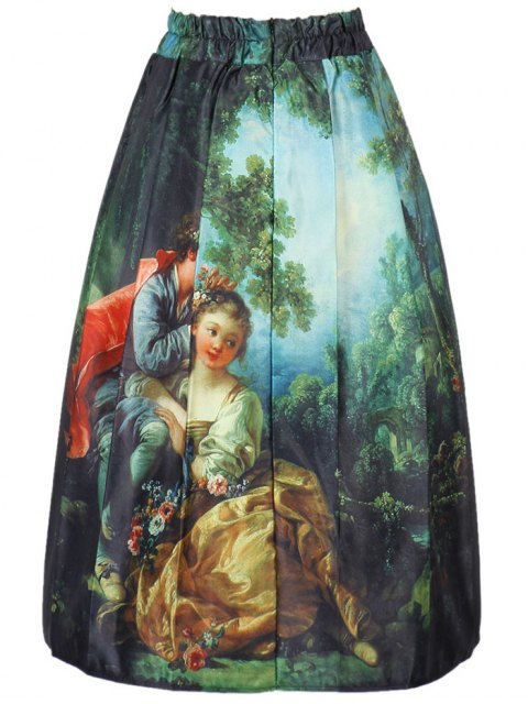best Figure Print A Line Skirt - COLORMIX ONE SIZE(FIT SIZE XS TO M) Mobile