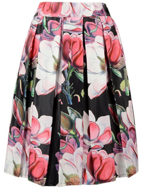 shop A-Line Flower Print Skirt - BLACK ONE SIZE(FIT SIZE XS TO M) Mobile
