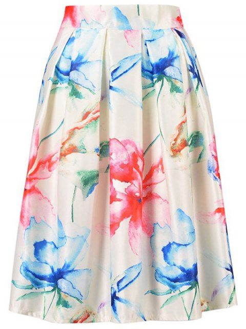 trendy High Waisted A Line Flower Print Skirt - OFF-WHITE ONE SIZE(FIT SIZE XS TO M) Mobile