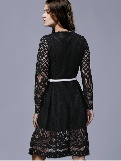 trendy Lace Round Neck Long Sleeve A Line Dress - BLACK M Mobile