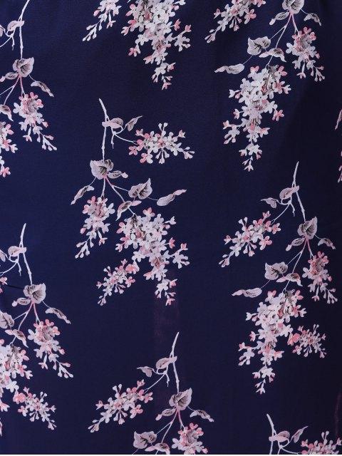 affordable Side Slit Elastic Waist Tiny Flower Print Midi Skirt - DEEP BLUE S Mobile