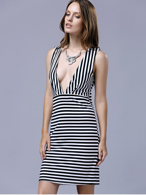 shop Striped Sleeveless Plunging Neckline Bodycon Dress - BLACK M Mobile