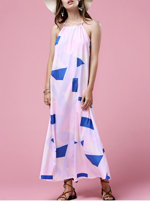 outfit Print Open Back Halter Sleeveless Dress - WHITE L Mobile