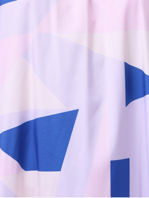 outfits Print Open Back Halter Sleeveless Dress - WHITE M Mobile
